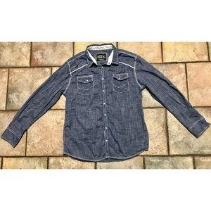 Buckle black button denim Standard fit shirt XL